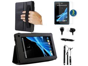 BIRUGEAR SlimBook Leather Stand Case with Handstrap, Credit Card Holder plus Screen Protector, Stylus, Headset for Acer Iconia B1-A71 New 7-inch Andriod Tablet