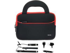 BIRUGEAR 7~8 inch Tablet Ultraportable Neoprene Zipper Carrying Case + 3pcs Stylus & Headset for Hisense Sero 7 Pro 8GB M470BSA / Sero 7 LT E270BSA and More