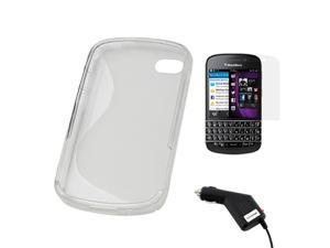 BIRUGEAR Clear Matte S-Shape TPU Cover Case + Screen Protector + Car Charger for BlackBerry Q10 ( AT&T, T-Mobile, Verizon, Sprint )