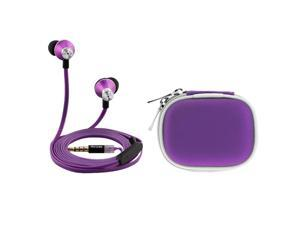 iKross Purple In-Ear 3.5mm Noise-Isolation Stereo Earphones With Handsfree Microphone Headset + Purple Headset Carry Case for LG Mach LS860, Optimus G LS970&#59; LG Smart Phone and more