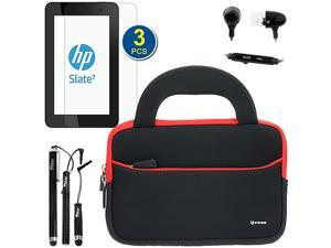 GTMax Ultraportable Handle Carrying Neoprene Case Bag with Screen Protector, Headset & Stylus for HP Slate 7 - 7'' Android Tablet
