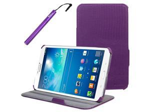 BIRUGEAR Purple Slim-Fit Multi-Angle Stand Folio Case with Stylus for Samsung Galaxy Tab 3 8.0 - 8'' Tablet (SM-T3100 / SM-T3110, Wifi / 3G, 4G LTE)