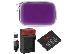 EZOPower NB-11L Battery + Travel Charger with EU/Car Adapter + Purple Eva Case for Canon Powershot A2600, A2500, A2400 IS, A2300, A3400 IS, A4000 IS Digital Camera