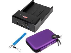 EZOWare SATA Horizontal Mobile HDD Hard Drive Docking Station + Hard Shell Carrying Case -Purple for Toshiba Sata HDD