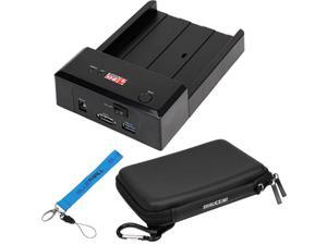 EZOWare USB 3.0 SATA Hard Drive Lay-Flat Docking Station + Black 2.5 Inch Portable Hdd Hard Shield Case with **Wrist Strap Lanyard**