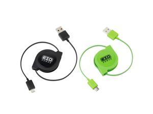 EZOPower 2-Pack 3ft High Speed Retractable Sync & Charge Micro-USB Data Cable for Asus PadFone Mini, Fonepad 7, Transformer Book T100, Memo Pad 10/ 8 and more - Black/ Green