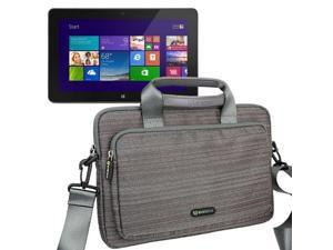 Evecase Suit Fabric Multi-functional Neoprene Briefcase Case Tote Bag for Dell Venue 11 Pro ( 2500 / 8182 / 6363/ 8183) -10.8 inch Windows 8.1 Tablet ( Gray )