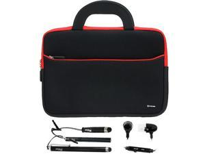 GTMax 10.6~12 inch Tablet, Netbooks Ultraportable Neoprene Zipper Carrying Case + 3x Stylus & Headset for Apple Macbook air 11/ 11.6 inch Laptop&#59; Samsung, Dell, HP, Toshiba, Sony, Asus, Acer and More