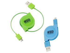 EZOPower Bundle of 2 Pack Micro USB Sync & Charging Data Cable for HP Slate 7 Beats Special Edition 4501, 7 Plus 1301US / Extreme, 8 1401US, Slate 8 Pro ( 3 Feet Retractable, Green & Blue )