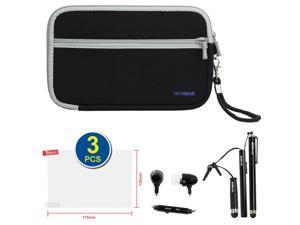 BIRUGEAR Black Neoprene Zipper Pouch Storage Carrying Case plus 3pacs Stylus, Headset, 3pcs Universal Screen Protector for 7inch Zeepad 7.0 Allwinnwer A13 Boxchip Cortex A8 Android 4.0 Tablet