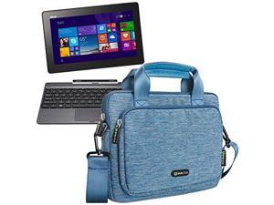 Evecase Asus Transformer Book T100 Case Bag, Suit Fabric Universal Sleeve Briefcase Case Tote Bag Messenger w/ Handle & Shoulder Strap – Blue
