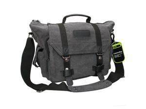 Evecase Large DSLR SLR Camera Canvas Messenger Shoulder Bag w/ Rain Cover for Pentax 645Z, 645D, K-S2, K-r, K-x, K-01, K-3, K-5, K-5 II, K-7, K20, K-30, K-50, K-500 – Gray