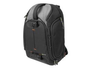 Evecase Professional Large DSLR Camera and 15.6-inch Laptop Backpack w/Rain Cover and Padded Handle – Black/Gray