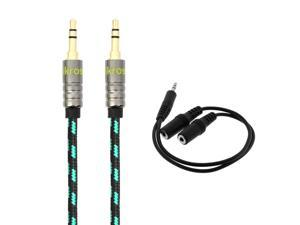 iKross 1Ft 3.5mm Jack jacket Stereo Auxiliary Aux Audio Cable w/ 3.5mm Y Splitter Cable for HTC Desire 526/ 626s/ 612/ EYE/ 510/ 816, One M9/ (M8) Smartphone Cellphone and more - Black/ Green