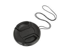 BIRUGEAR Black Camera Plastic Snap On Lens Cap with Strap - 52mm for Canon EOS 60D /for Nikon 18-55mm 55-200m 50mm f/1.2 50mm f/1.4D 50mm f/1.4 50mm f/1.8D NIKKOR Lenses D40 D40X D60 D70 D80 D800