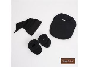 Baby Milano Black Bib, Booties and Knotted Hat Gift Set
