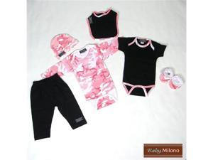 Baby Milano 6 piece Pink Camo Clothes Gift Set for Girls
