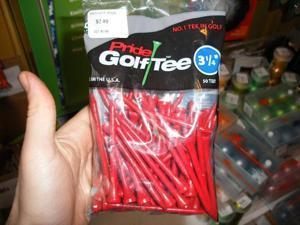"Pride Golf Tee 3 1/4"" 50/Bag Quality Birch Red NEW"