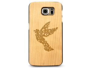 Laser Engraved Wood Case - Dove Bird Pattern (Maple, Cherry, Black, Cork) for iPhone 4/4s, iPhone 5/5s/SE, iPhone 6/6s, iPhone 6/6s Plus, Galaxy S4, Galaxy S5, Galaxy S6 and Galaxy S6 Edge
