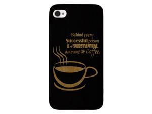 Laser Engraved Wood Phone Case -Funny Coffee Quote (Maple, Cherry, Black, Cork) for iPhone 4/4s, iPhone 5/5s/SE, iPhone ...