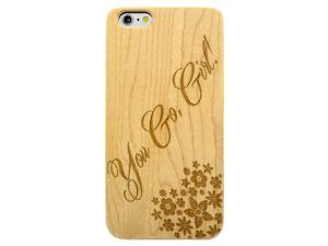Laser Engraved Wood Phone Case - You Go Girl Floral Stars (Maple, Cherry, Black, Cork) for iPhone 4/4s, iPhone 5/5s/SE, iPhone 6/6s, iPhone 6/6s Plus, Galaxy S4, Galaxy S5, Galaxy S6, Galaxy S6 Edge