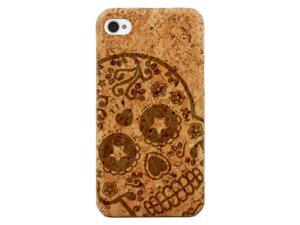 Laser Engraved Wood Phone Case - Death Sugar Skull (Maple, Cherry, Black, Cork) for iPhone 4/4s, iPhone 5/5s/SE, iPhone 6/6s, iPhone 6/6s Plus, Galaxy S4, Galaxy S5, Galaxy S6, Galaxy S6 Edge