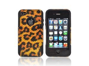 Black Gold Leopard Mesh Dual Layer Hybrid Hard Silicone Case For Apple Iphone 4s 4