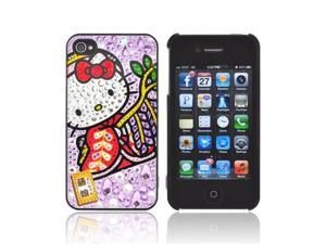 Officially Licensed Sanrio Hello Kitty Apple Iphone 4/4s IDress Bling Hard Plastic Snap On Cover, ID-92kt - Kimono Hello Kitty W/ Purple/silver Gems