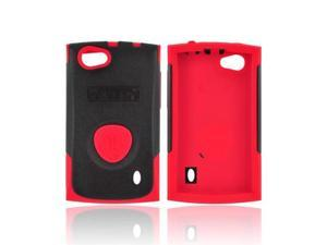 OEM Trident Aegis LG Optimus M+ Hard Cover Over Rubbery Soft Silicone Skin Case W/ Screen Protector Film Guard - Red/ Black