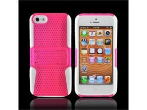 Apple Iphone 5 Rubberized Plastic Cover Over Silicone W/ Stand - Hot Pink Mesh On White