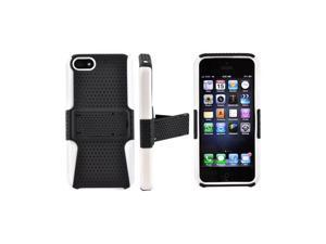 Apple Iphone 5 Rubberized Plastic Cover Over Silicone W/ Stand - Black Mesh On White