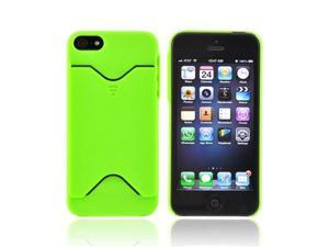 Neon Green Apple Iphone 5 Rubberized Back Cover W/ ID Slot