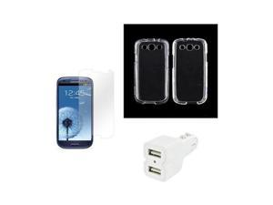 Samsung Galaxy S3 Bundle W/Clear Plastic Cover, Screen Protector, & Trident Dual USB Car Charger W/Micro USB Data Cable