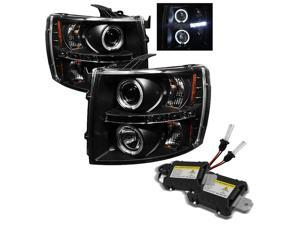 Chevy Silverado 1500/2500/3500 Halo LED ( Replaceable LEDs ) Black Projector Headlights plus 6000K Xenon HID Performance ...