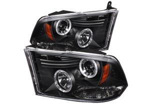 Dodge Ram 1500 ( Non Quad Headlights ) Halo LED ( Replaceable LEDs ) Black Projector Headlights & LED Day Time Running Light ...