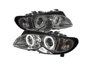 Carpart4u BMW E46 3-Series 02-05 4DR  CCFL Halo Projector Headlights 1PC Smoke LENS With Chrome Housing.