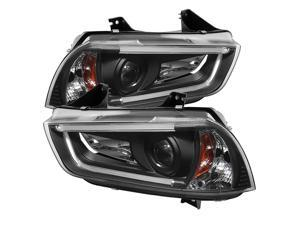 Dodge Charger 11-14 Projector Headlights - Xenon/HID Model Only (Not Compatible With Halogen Model ) - Light Tube DRL - Black - High H1 (Included) - Low D3S (Not Included)