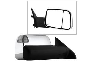Dodge Ram 1500 09-12 Manual Extendable - POWER Heated Adjust Mirror with LED Signal Chrome Housing - RIGHT Fit: Ram 2500/3500 10-12