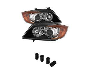 BMW E90 3Series 4Dr CCFL Halo Projector Headlights Black Housing With Clear Lens + Free Gift Tires Valve Stem Cap 4pcs.
