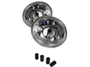 Universal Round Projector Lamp 7inch W/ Super White H4 Bulbs Chrome Housing With Clear Lens + Free Gift Tires Valve Stem Cap 4pcs Silver.