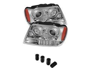 Jeep Grand Cherokee Projector Headlights LED Halo Chrome Housing With Clear Lens + Free Gift Tires Valve Stem Cap 4pcs Silver.