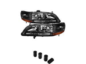 Honda Accord Amber Black Crystal Headlights+ Free Gift Tires Valve Stem Cap 4pcs Silver.