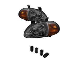 Honda Del Sol 1PC Amber Crystal Headlights With Smoke Lens+ Free Gift Tires Valve Stem Cap 4pcs Silver.