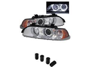 BMW E39 5Series Halo Projector Headlights Chrome Housing With Clear Lens + Free Gift Tires Valve Stem Cap 4pcs.