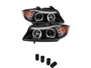 BMW E90 3Series 4DR Projector Headlights LED Halo Amber Reflector Replaceable Eyebrow Bulb Black Housing With Clear Lens + Free Gift Tires Valve Stem Cap 4pcs Silver.