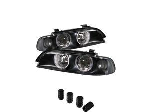 BMW E39 5 Series LED Halo Projector Headlights Black Housing with Clear Lens + Free Gift Tires Valve Stem Cap 4pcs Silver.
