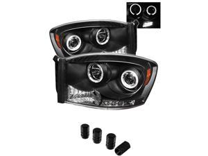 Dodge Ram 1500 / Ram 2500/3500 Projector Headlights LED Halo LED Black Housing With Clear Lens + Free Gift Tires Valve Stem Cap 4pcs.