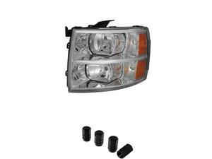 Chevy Silverado Crystal Headlights Left+ Free Gift Tires Valve Stem Cap 4pcs Silver.