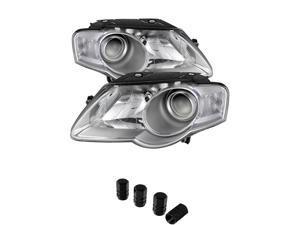 Volkswagen Passat (Halogen Only) Projector Chrome Headlights+ Free Gift Tires Valve Stem Cap 4pcs Silver.
