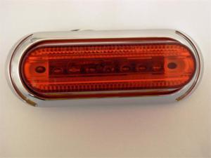 AutoSmart LED OBLONG CLEARANCE / SIDE MARKER LIGHT RED W CHROME BEZEL KL-15112RE